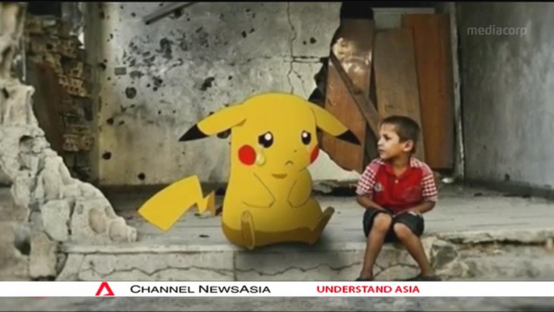 シリアのポケモンGO「泣いているピカチュウとシリアの男の子」