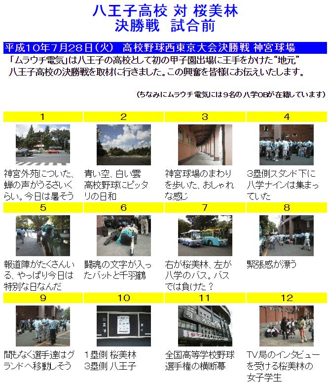 平成10年/1998年 西東京大会決勝 八王子対桜美林