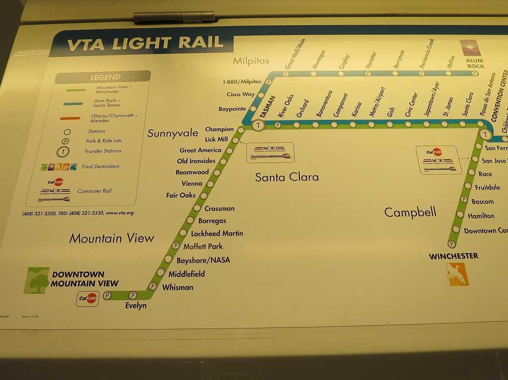 VTAライトレールの路線図