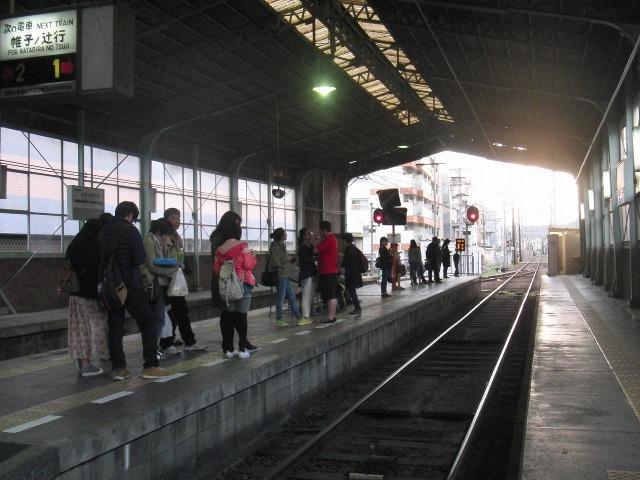 嵐電(京福電車) 北野白梅町駅ホーム