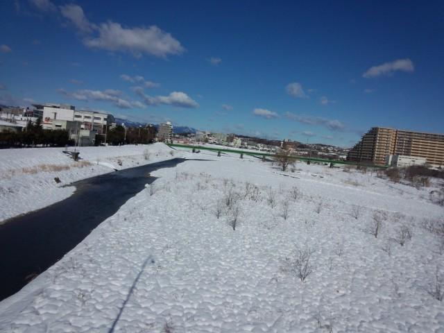 雪景色の浅川河川敷(東京都八王子市)