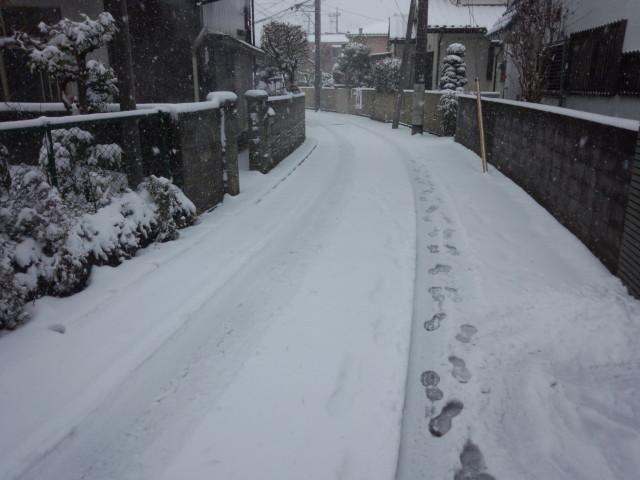 雪が積もった路地(東京都八王子市)