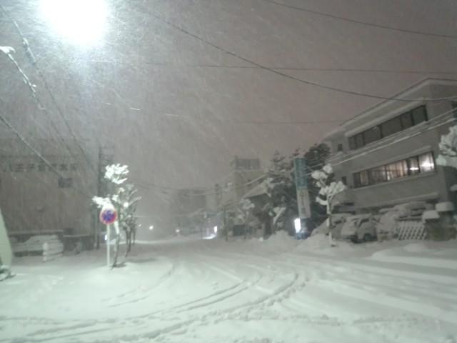 大雪に見舞われる八王子市田町