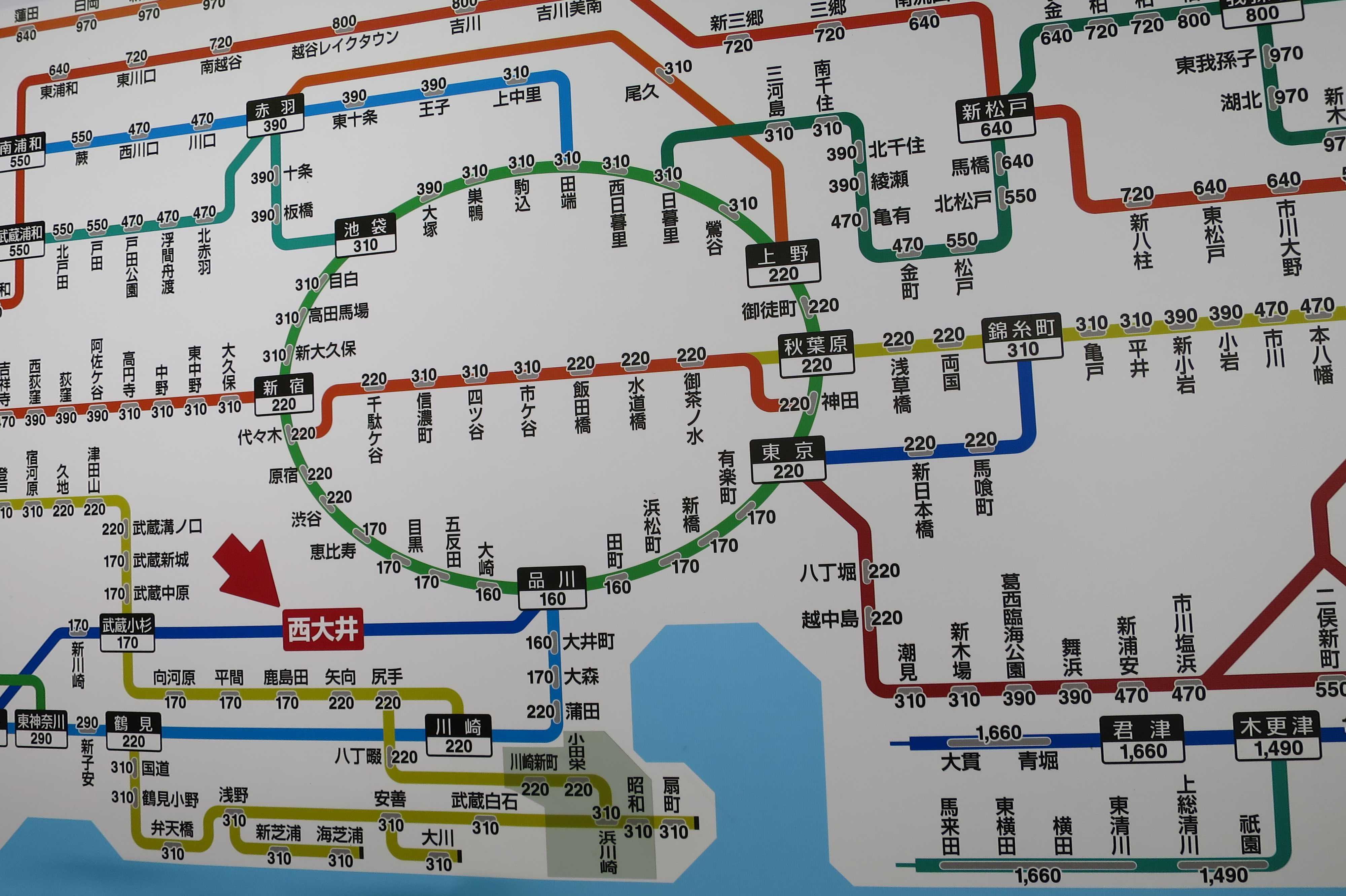 西大井駅周辺の路線図