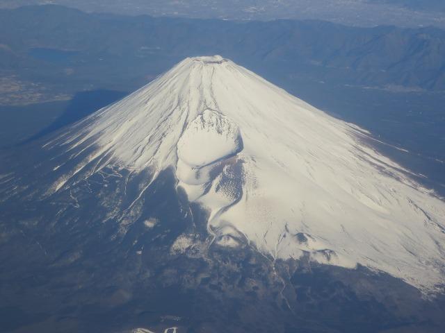 飛行機から眺めた富士山