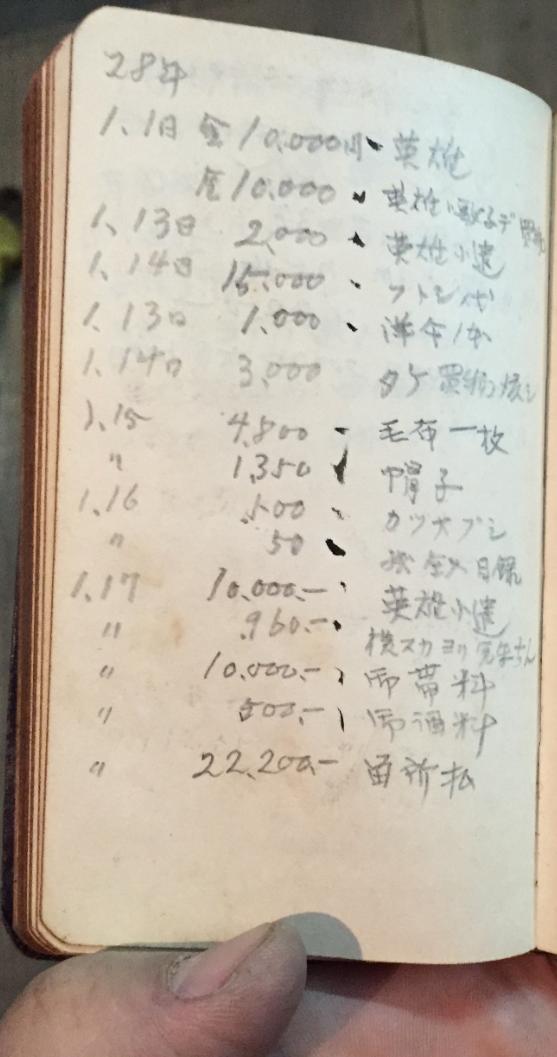 昭和28年1月の出費
