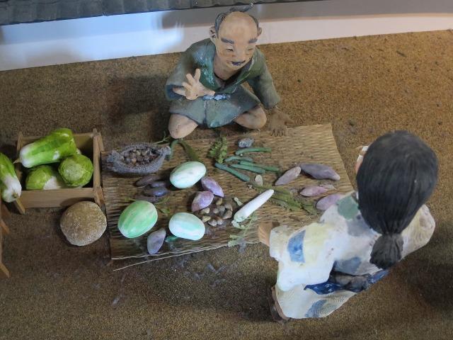 高知城のジオラマ - 野菜売り