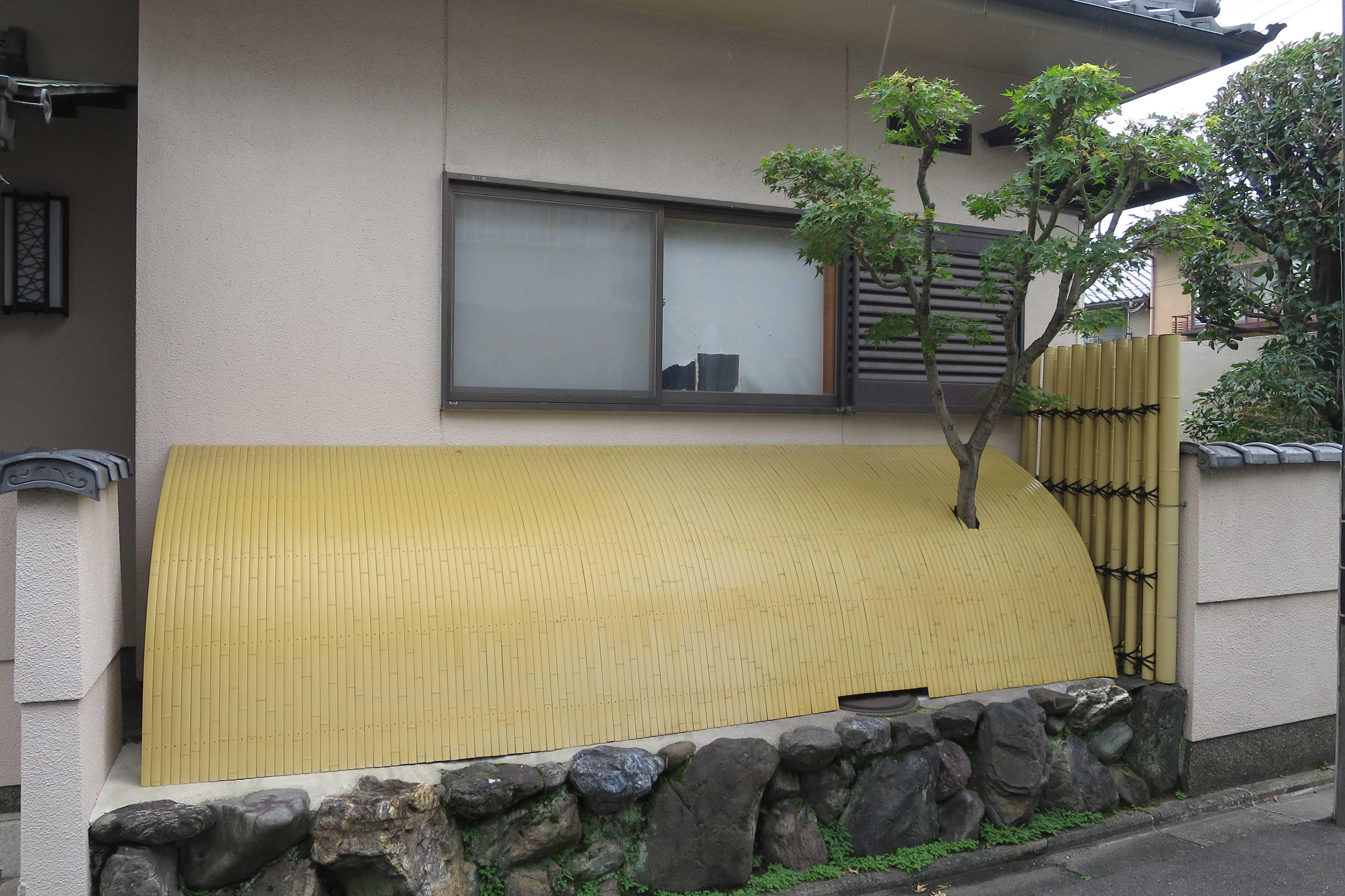 京都 - 犬矢来から突き抜ける庭木