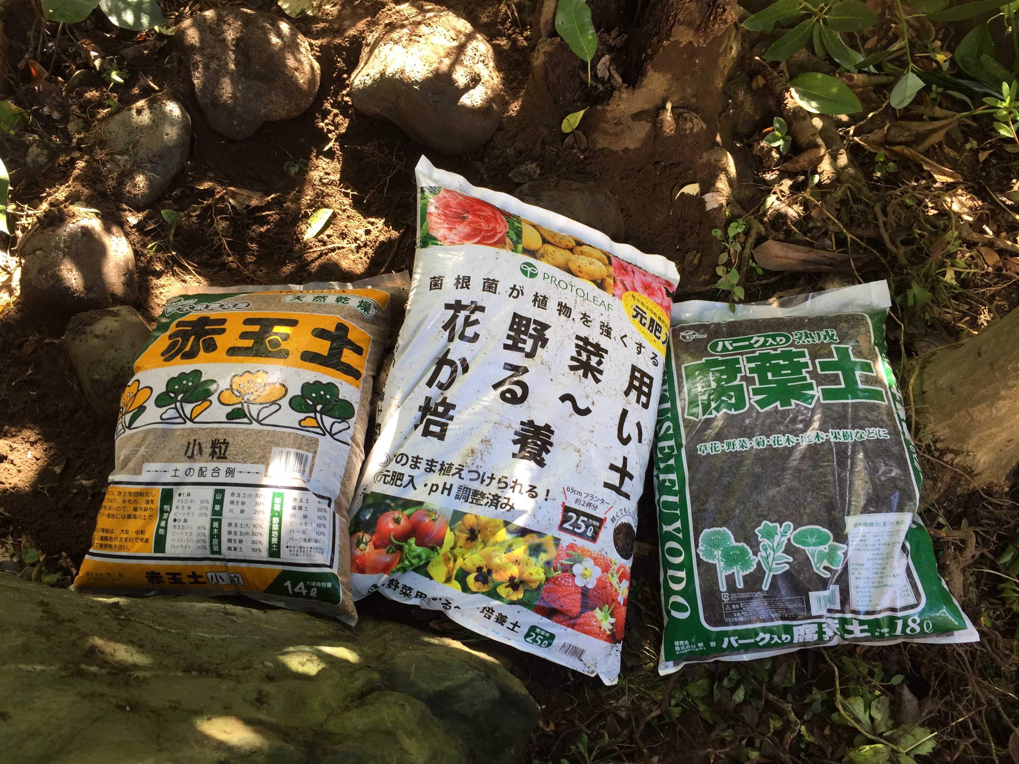 ヤマユリ庭植え - 赤玉土、培養土、腐葉土のブレンド土