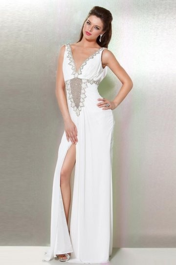 Sexy-A-Linie-Ivory-Chiffon-Lang-Abendkleid