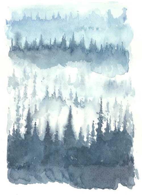 森,風景,車窓,フィンランド,ハーメンリンナ,水彩画,イラスト