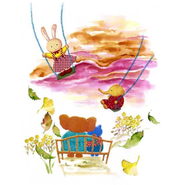 夕焼け,ブランコ,スカート,枯葉,高塚由子,Yoshiko,Taaktsuka,水彩画,Watercolor,イラスト,素材,