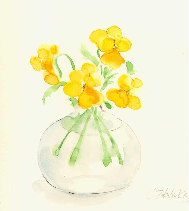 ヴィオラ,水彩画,イラスト,花,植物,素材