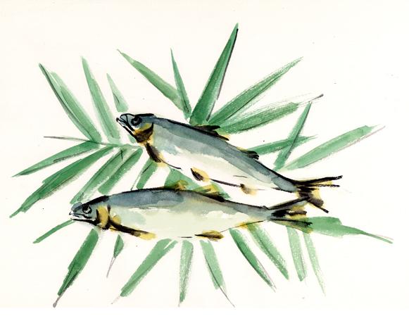 鮎,塩焼き,魚介,高塚由子の水彩画,イラスト,食べ物