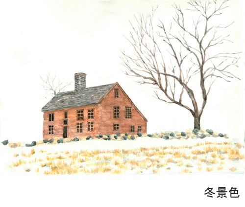 雪景色,水彩画,イラスト,雪,冬,北国