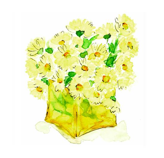 仕事絵,ガラス,花,黄色,水彩画,イラスト,素材