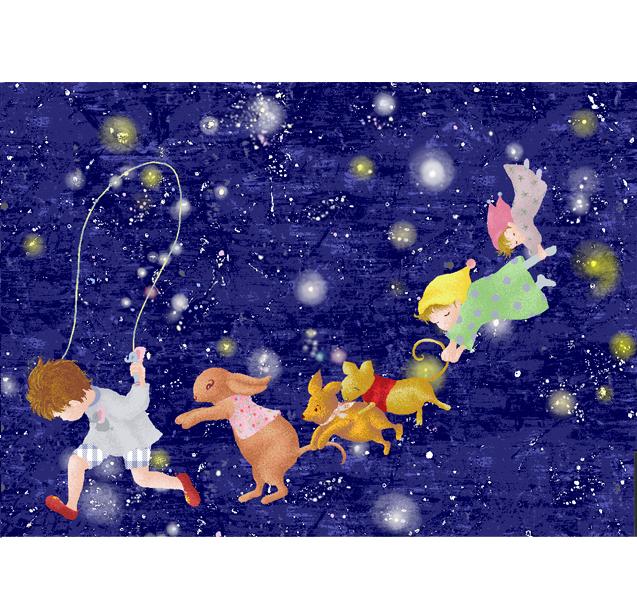 仕事絵,星空,こども,縄跳び,銀河,イラスト