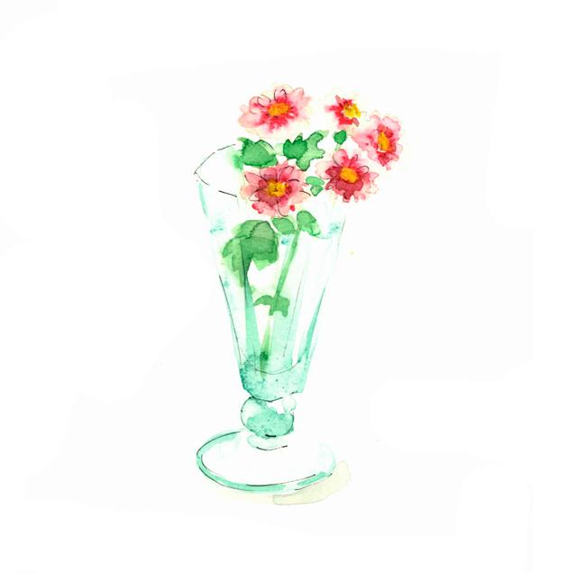 すみっこ,花,高塚由子,Yoshiko,Taaktsuka,水彩画,Watercolor,イラスト