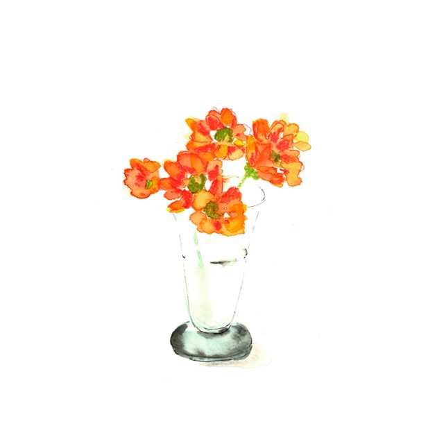 花,空き地,夏,植物,水彩画,イラスト,素材
