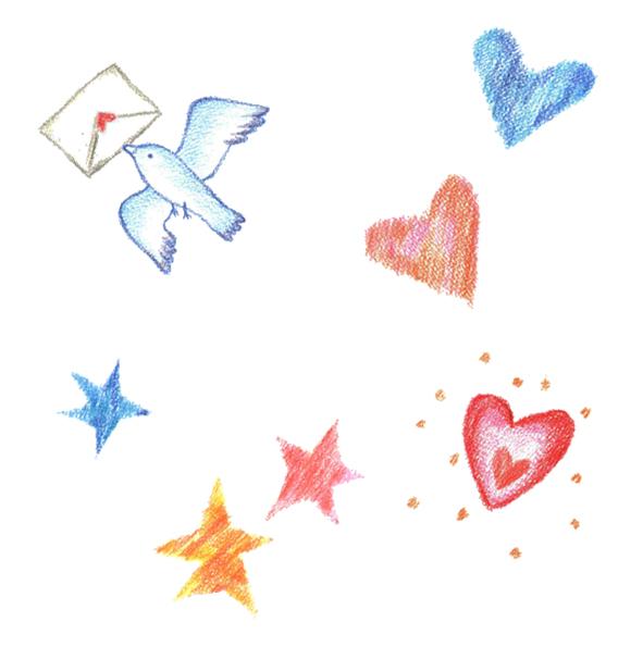 色えんぴつ,鳥,ハート,手紙,高塚由子,Yoshiko,Taaktsuka,イラスト,素材