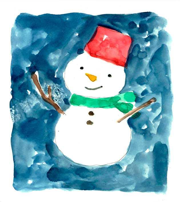 雪だるま,水彩画,イラスト,冬,雪