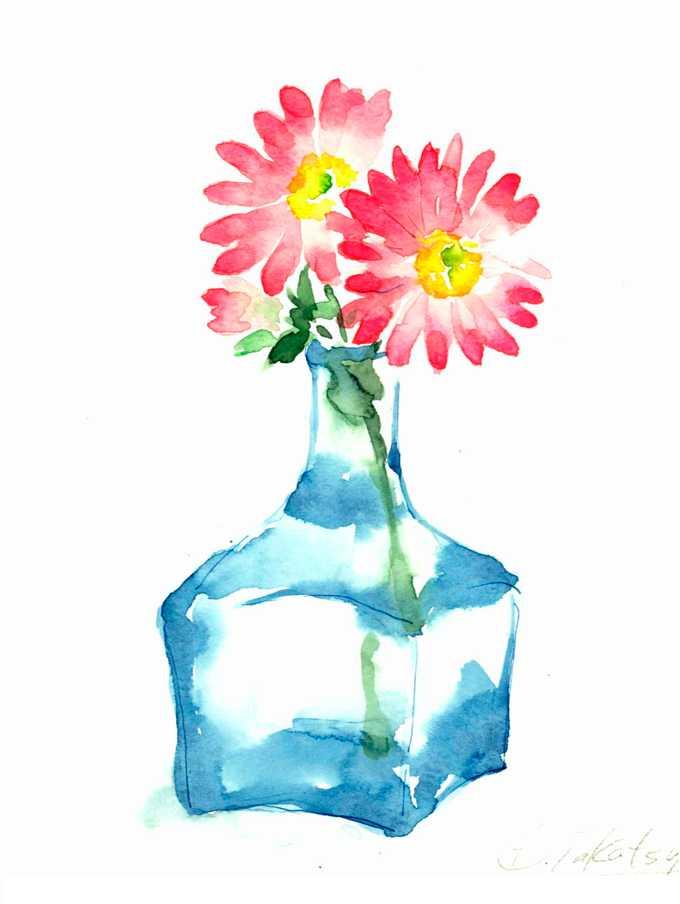 デージー,水彩画,イラスト,花,植物,素材