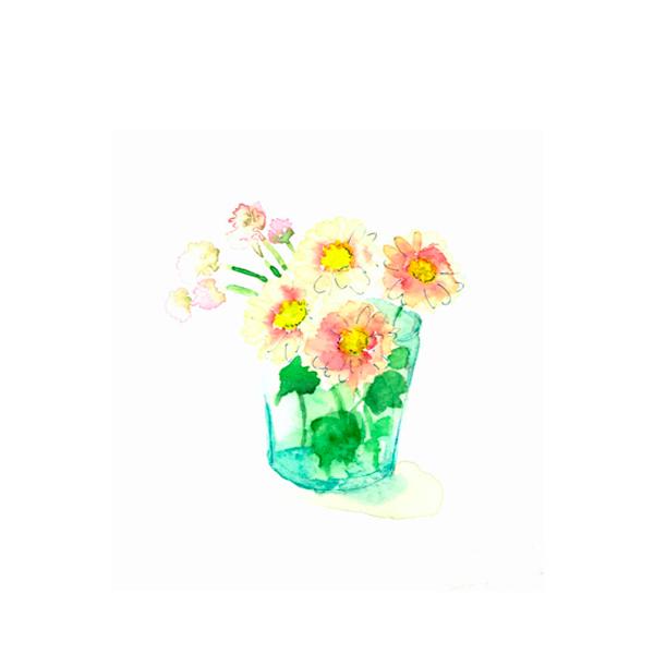 花,グラス,花,高塚由子_Yoshiko,Taaktsuka,水彩画,イラスト