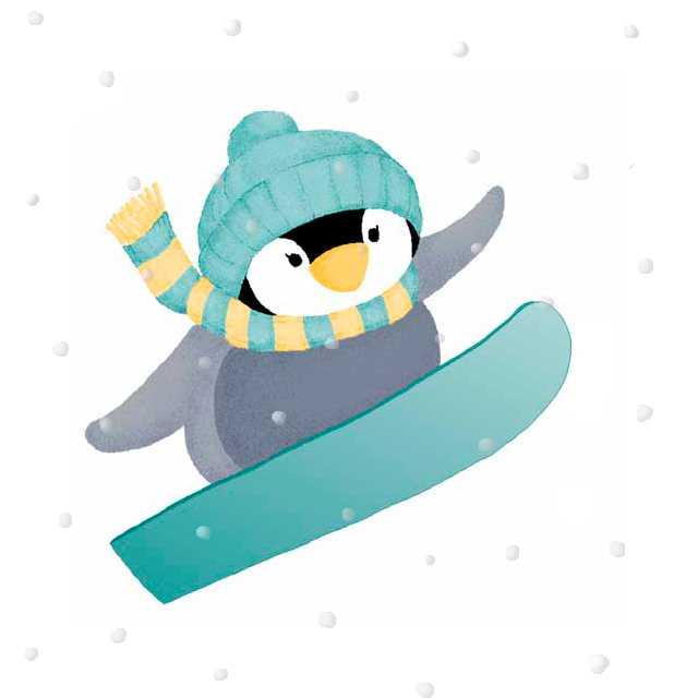 仕事絵,ペンギン,スノーボード,冬,高塚由子,Yoshiko,Taaktsuka,イラスト