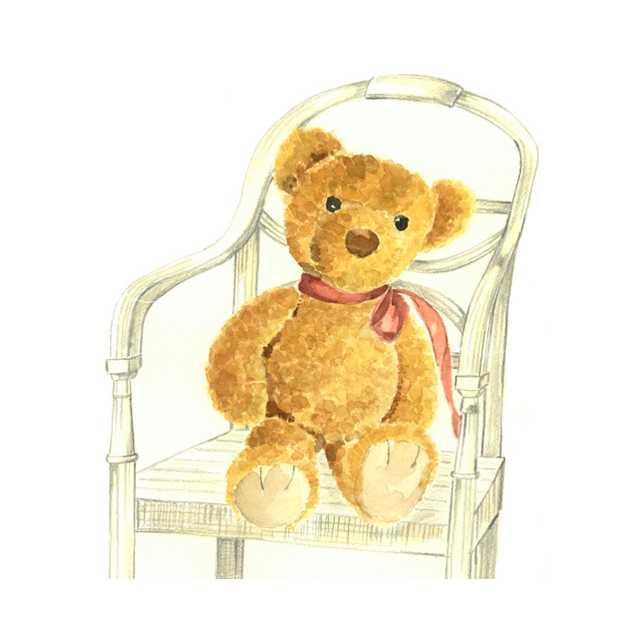 クマ,テディベアー,籐椅子,水彩画,イラスト,素材
