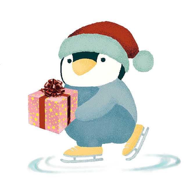 クリスマス,プレゼント,ペンギン,高塚由子,Yoshiko,Taaktsuka,水彩画,Watercolor,イラスト