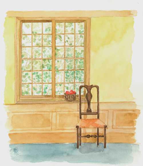 窓,避暑地,椅子,水彩画,イラスト,インテリア