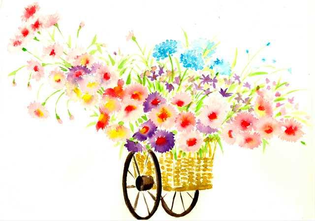 花車,水彩画,イラスト,花,春,素材