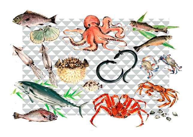 魚介,高塚由子,Yoshiko,Taaktsuka,水彩画,Watercolor,イラスト,素材,食材,食べ物