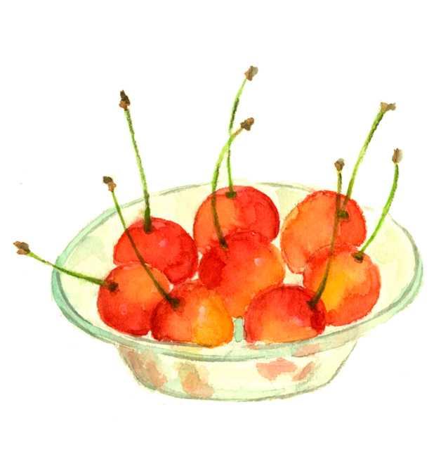 サクランボ,チェリー,フルーツ,水彩画,イラスト,素材,食材,食べ物