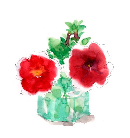 ペチュニア,花,春,植物,水彩画,イラスト,素材