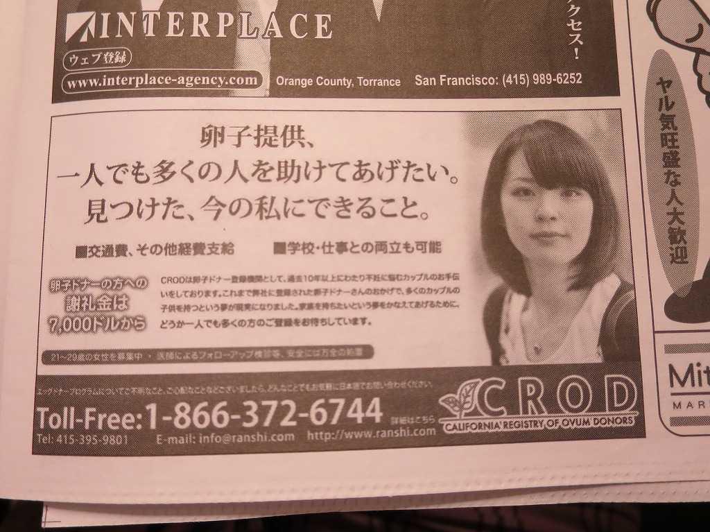 サンフランシスコ - 卵子提供: 日本人をターゲットにした日本語の広告
