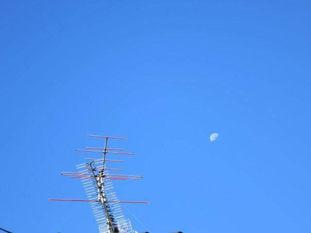 台風一過の青空と白い月