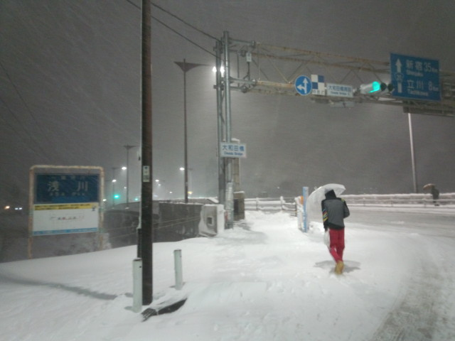 大雪の大和田橋