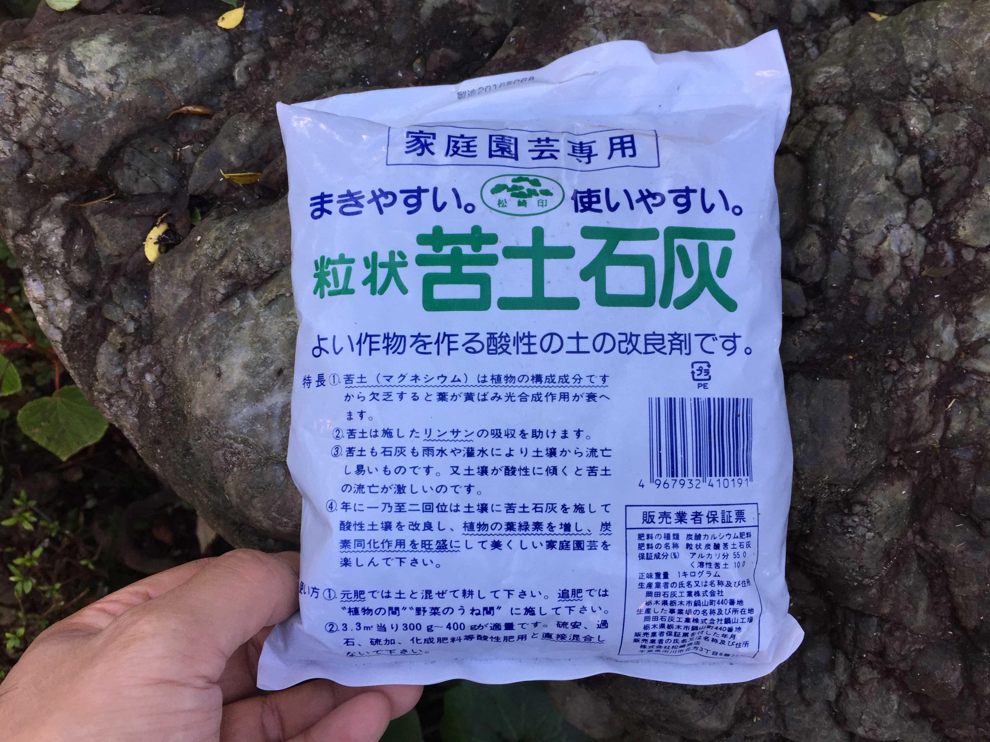 ヤマユリの球根植え付け - 粒状苦土石灰