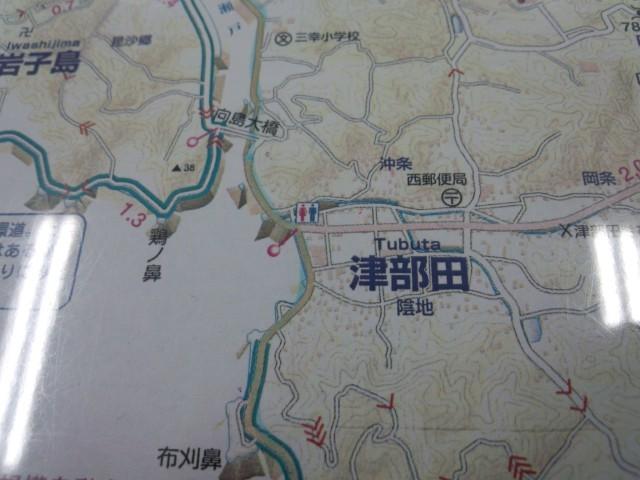 津部田の地図(しまなみ海道サイクリング)