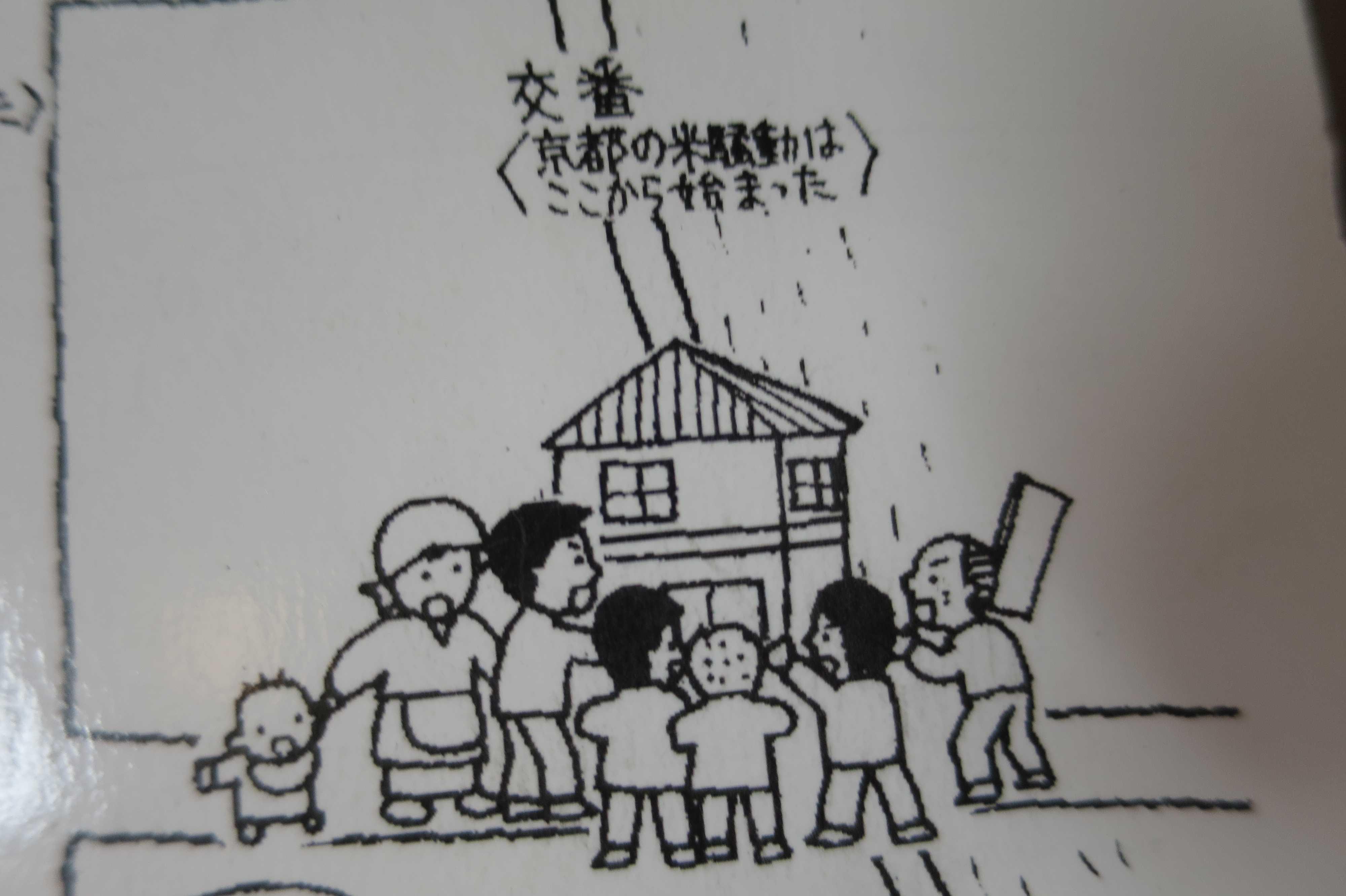 京都・崇仁地区 - 京都の米騒動が始まった交番のイラスト
