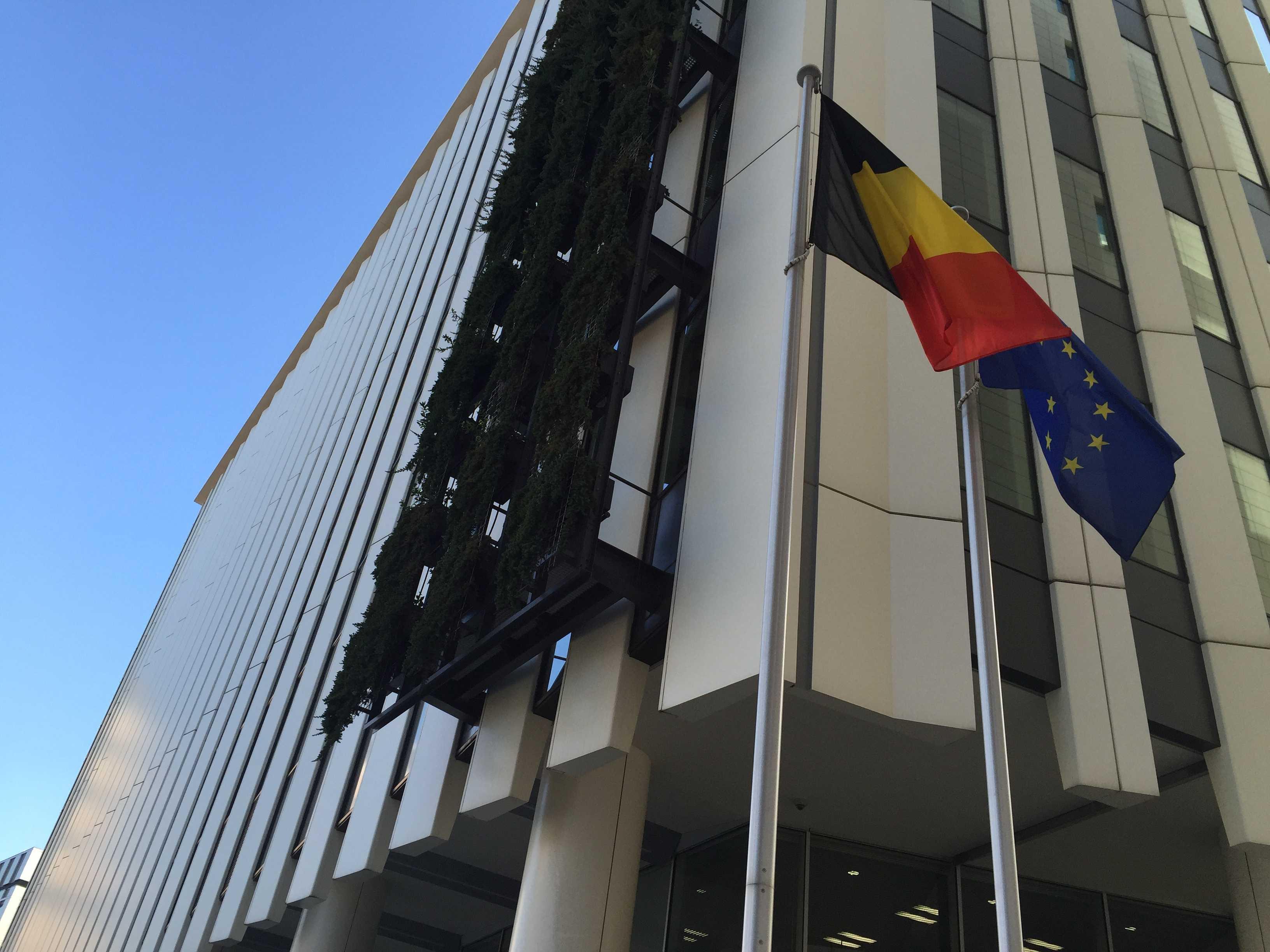ベルギー大使館の玄関のベルギー国旗と EU旗(欧州旗)