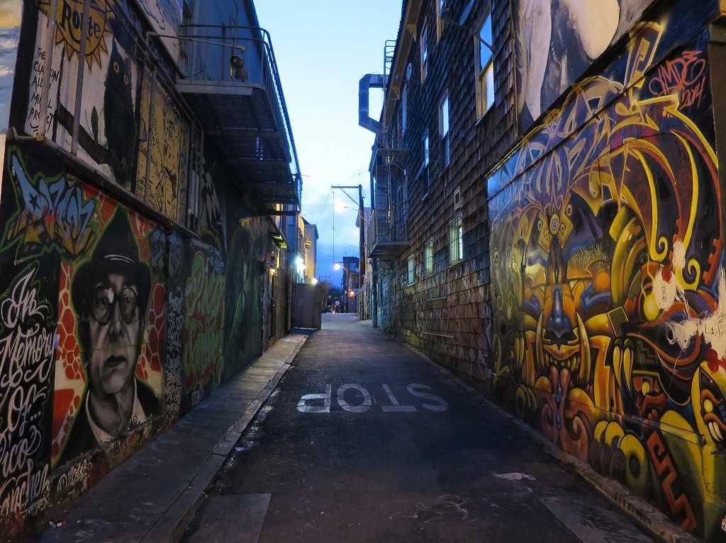 サンフランシスコ - ミッション地区のアートしているストリート(道)