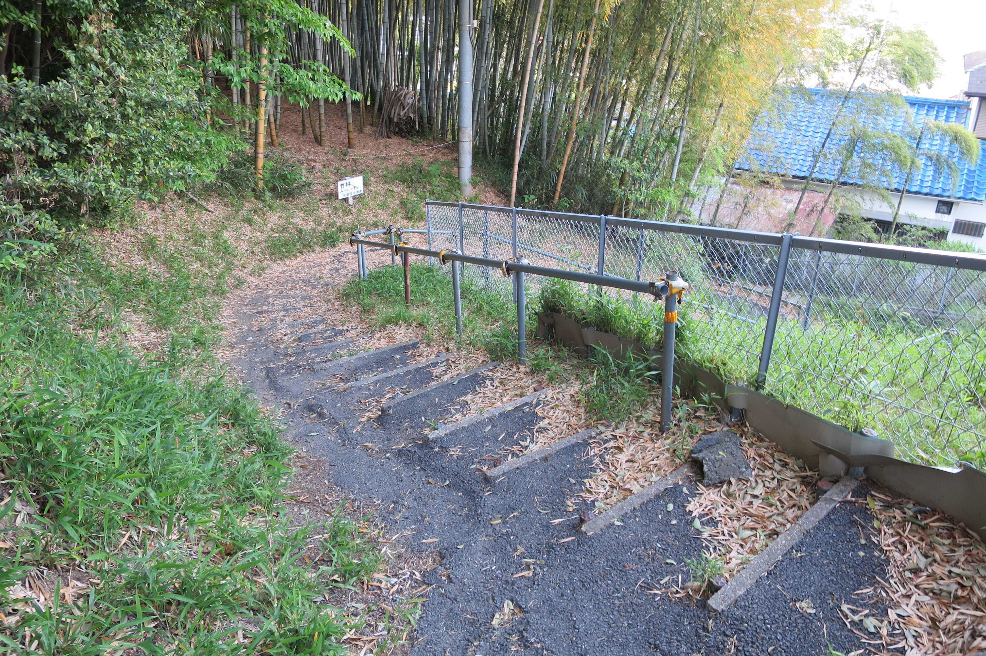 柿生の里散歩道の味がある細い坂道