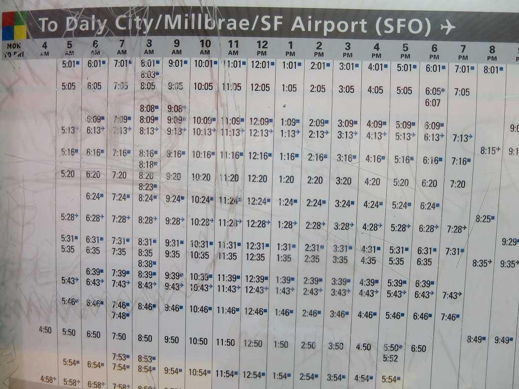 サンフランシスコ - BART/バートの時刻表