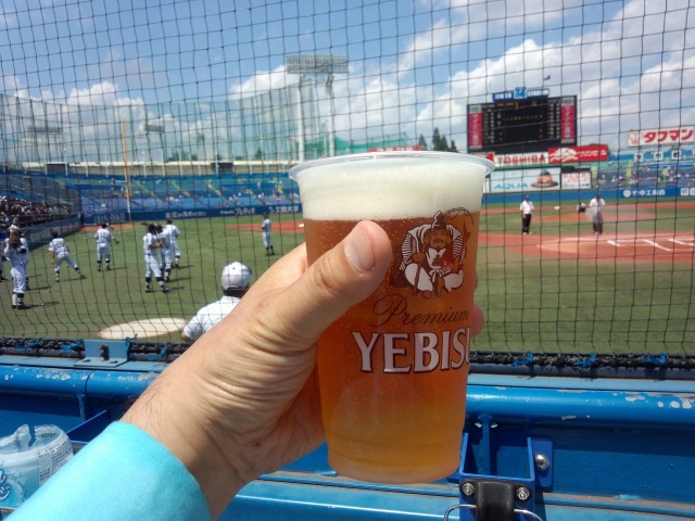 ヱビスビール飲みながら夏の甲子園西東京大会決勝を観戦