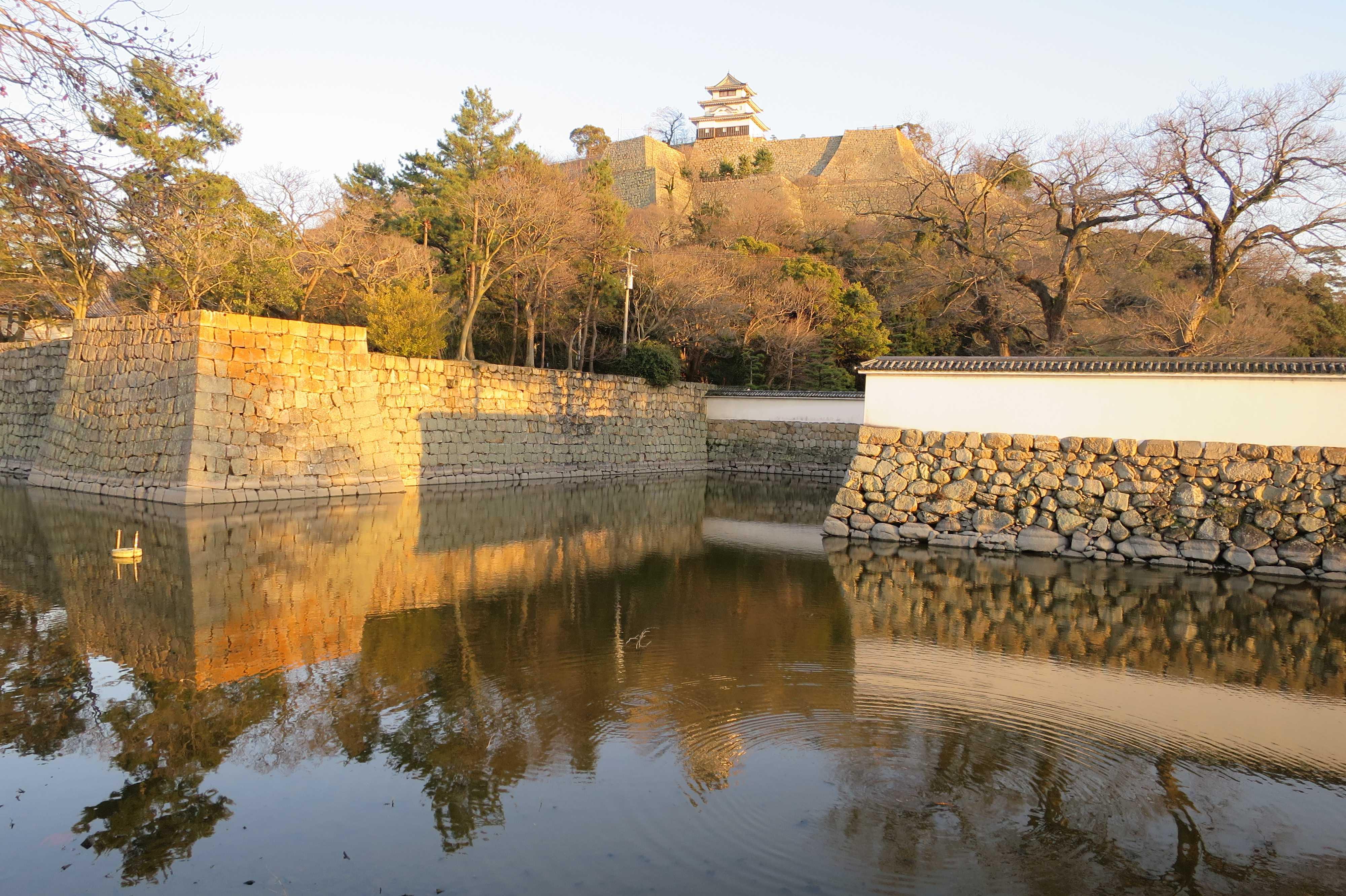 丸亀城の石垣とお堀