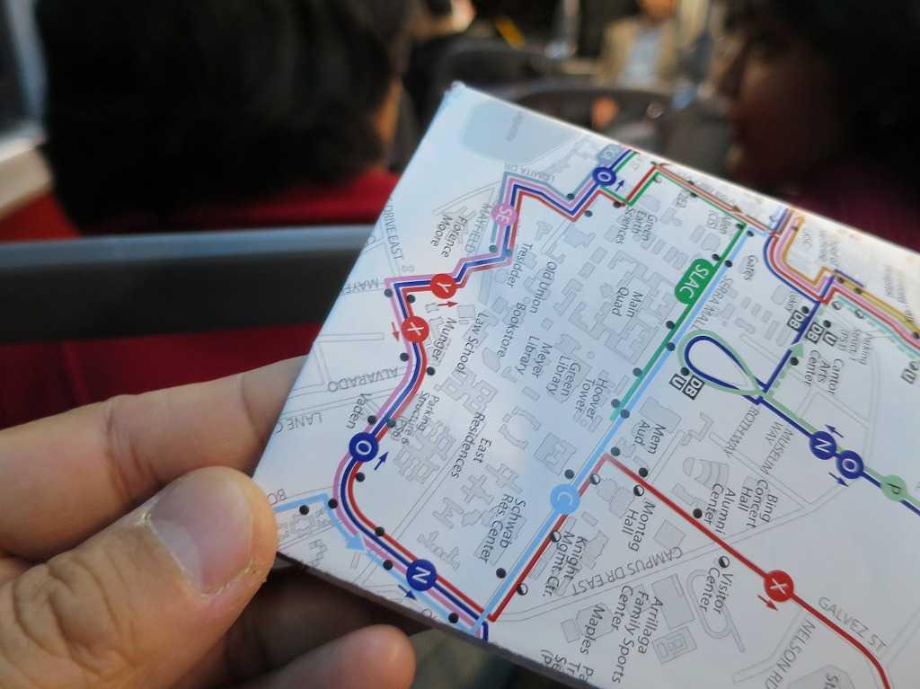 スタンフォード大学 - シャトルバスの路線図