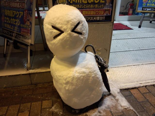 驚いている雪だるま