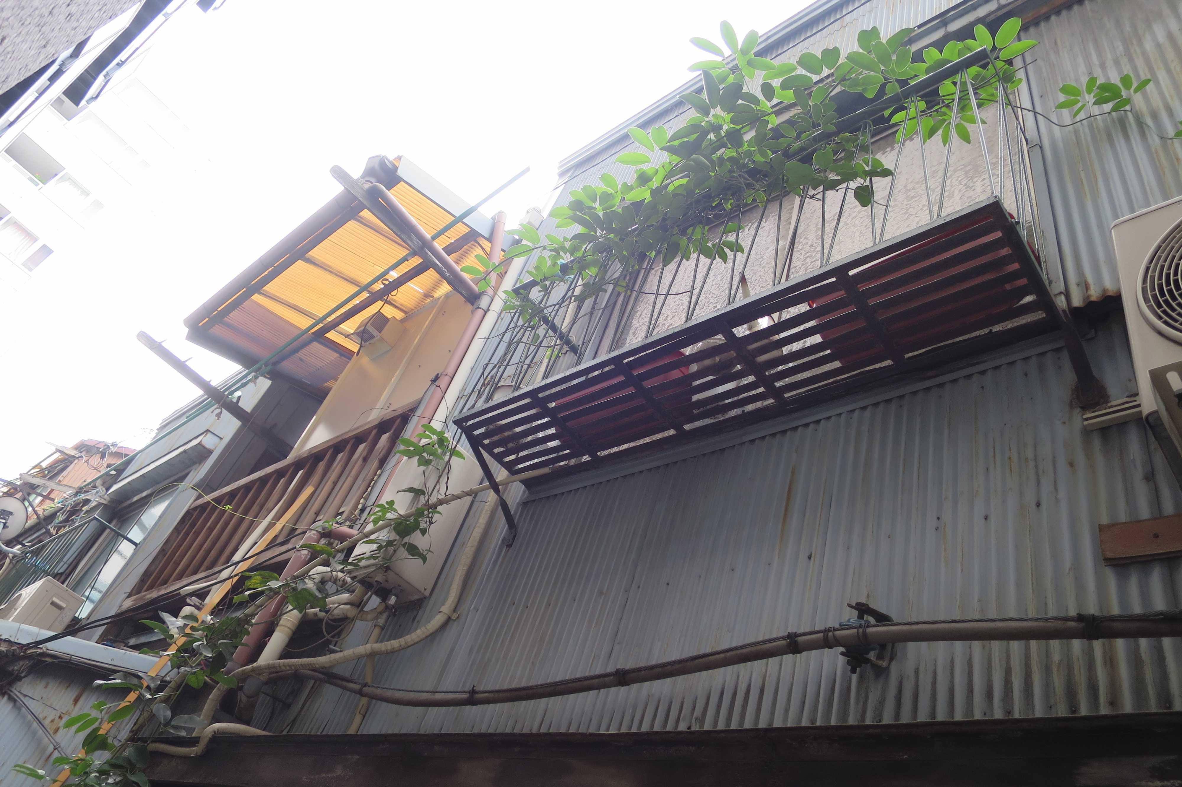 築地エリア - 波板トタン、植木棚、物干し竿のある路地